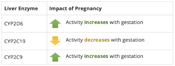 chart of liver enzyme activity changes during pregnancy