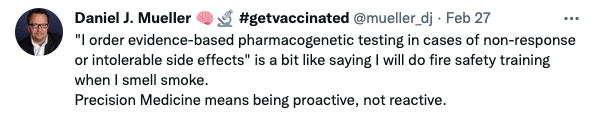 """Daniel J. mueller tweek """"Precision Medicine means being proactive, not reactive."""""""